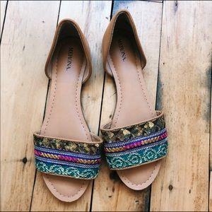 Merona embellished sequin flats shoes tan size 8.5